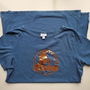 LuLaRoe Blue/Bronze Unicorn SideSlit Long TunicTee